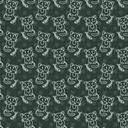 Seamless pattern of cute cat characters. Fishbone Piirros
