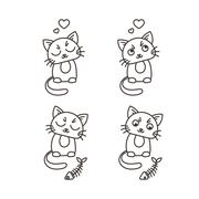 Set of cute cat characters. Satisfied fed kittens. Wary fishbone - stock illustration