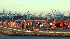 Cargo Container Ship terminal and sea port in San Pedro, California Arkistovideo