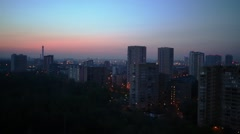 Early morning - beautiful pink and blue sunrise in the city Stock Footage