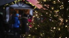 Active atmosphere at Christmas festival, many people enjoying celebrations Stock Footage