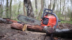 A working chainsaw is on a tree cutting down in the forest Stock Footage