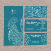 Set of vector design templates. Brochures in random colorful style. Zentangle Stock Illustration