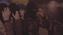Female bikers wearing mask Stock Footage