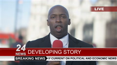 4K News reporter doing live piece to camera in busy city area Stock Footage