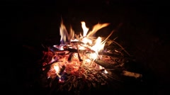 A fire burning in the night Stock Footage