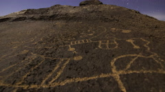 3axis MoCo Astro Time Lapse of Moonset over Native American Petroglyphs -Long- - stock footage