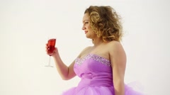 Woman shows that clink with someone, and drinking wine from glass - stock footage