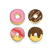 Stock Illustration of Set of Donut Icons. Cakes, glaze, fried sweets