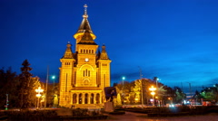Timisoara. Orthodox Cathedral at dusk. Stock Footage
