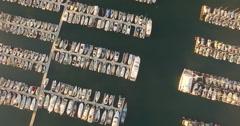 Aerial of sailboat on harbor in Santa Barbara - stock footage