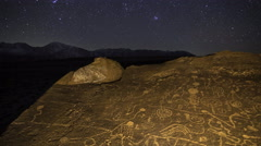 2axis MoCo Astro Time Lapse of Orion over Native American Petroglyphs -Zoom In- - stock footage