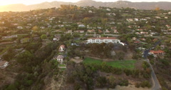 Aerial of houses and rural area in Santa Barbara - stock footage