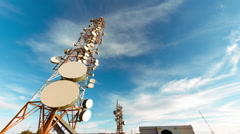 HD 25p Broadcast towers, communication antennas timelapse, ultra wide angle Stock Footage