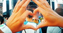 4K Woman's Hands Heart Shape, Music Festival Concert Stock Footage