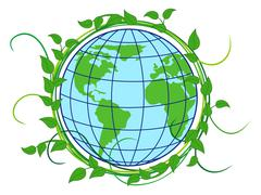 Planet Earth shrouded in green wreath - stock illustration
