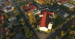 Aerial of houses and street in Santa Barbara - stock footage