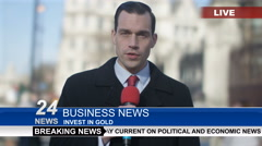 4K News reporter doing live piece to camera in busy city area - stock footage