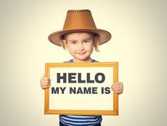 Text HELLO MY NAME IS. Stock Photos