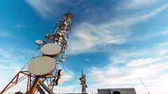 4K 25p Broadcast towers, communication antennas timelapse, ultra wide angle - stock footage
