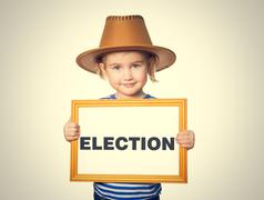 with blackboard. Text ELECTION. - stock photo