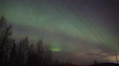 Alaska, Aurora Borealis, Telephone Line Detail Stock Footage