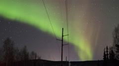 Alaska Aurora Borealis Telephone Line Detail Stock Footage