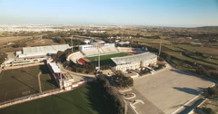 Aerial shot - High angle shot over a Football / Soccer Pitch Stock Footage
