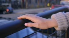 Closeup Of Teen Girl's Manicured Han,d Holding On To Railing, As She Walks - stock footage
