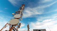 4K 30p Broadcast towers, communication antennas timelapse, ultra wide angle Stock Footage