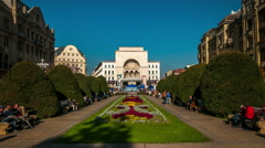 Timisoara.  Victory square. National Opera house is in the background. Stock Footage