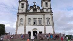 People visit Church of Bomfim Senhor, Salvador da Bahia, Brazil Stock Footage