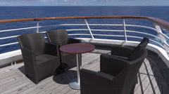 Chairs on deck of cruise ship at sea Stock Footage