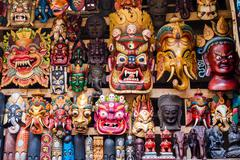 Colorful Masks at Souvenir Shop in Kathmandu, Nepal Stock Photos