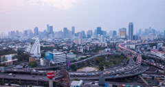 Day to Night of Traffic and City at Bangkok - stock footage