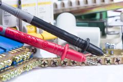 electrical equipment, switches and clamps for wires - stock photo