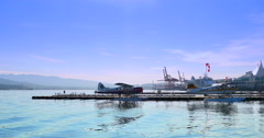 4K Pan Shot of Canada Place and Sea Plane Terminal, Downtown Vancouver BC Stock Footage
