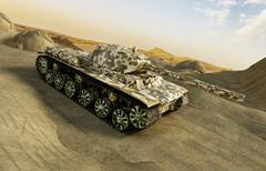 Tank in camouflage moving at the desert Stock Illustration