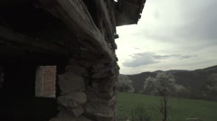 Destroyed mountain wooden house Stock Footage