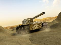Tank in camouflage moving at the desert - stock illustration