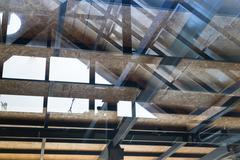 Reflection of glazed atrium roof Stock Photos