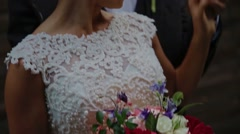 Close-up newlyweds on the street Stock Footage