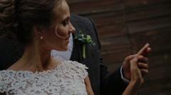 Close-up newlyweds slowmotion Stock Footage