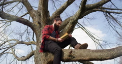 4K Getting away from it all - Young casual man sitting in a tree & reading book Stock Footage