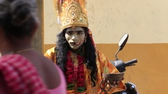 Indian sadhu in clothing blesses the people on the street. Pushkar , India Stock Footage