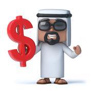 3d render of an Arab sheik holding a US dollar symbol - stock illustration