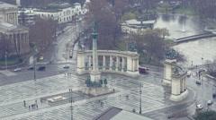 Budapest hősök tere drón Stock Footage