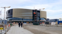 Building site of The Royal Arena in Copenhagen - for sport and entertainment Stock Footage