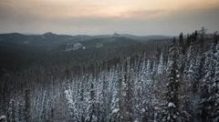 "Winter dawn in the reserve ""Krasnoyarsk Pillars"" Stock Footage"