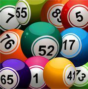Bingo balls close up background - stock illustration